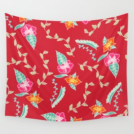 Modern red scarlet floral pattern illustration Wall Tapestry