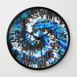 Black White and Blue Tie Dye Wall Clock