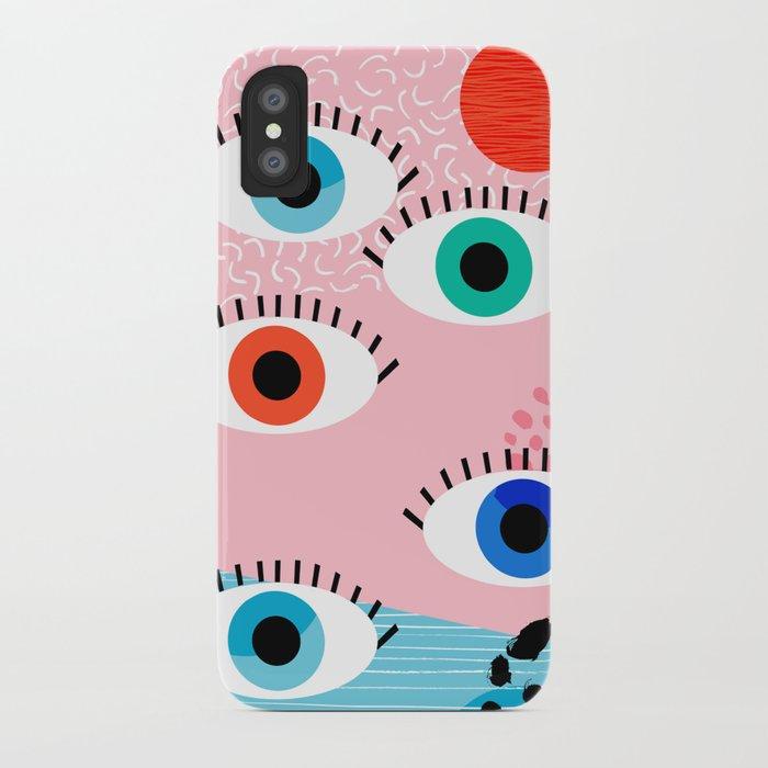 Noob - eyes memphis retro throwback 1980s 80s style neon art print pop art retro vintage minimal iPhone Case
