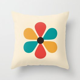 Mid Century Flower Throw Pillow
