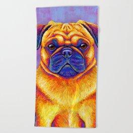 Colorful Rainbow Pug Portrait Beach Towel