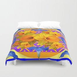 Golden Daffodils Blue Morning Glories Garden Pattern Duvet Cover
