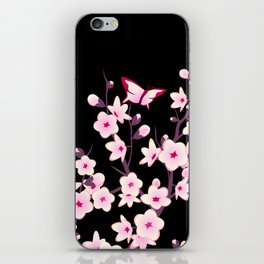 Cherry Blossoms Pink Black iPhone Skin