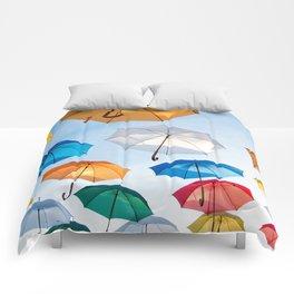 umbrellas flying Comforters