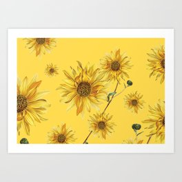 Sunflower Pattern 4 Art Print