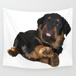 Cute Rottweiler Puppy Vector Wall Tapestry