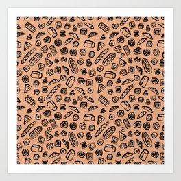 Bread Bakery Cake Brown Background Pattern Art Print