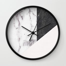 Chic Geometric Marble Collage Wall Clock