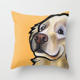 George the golden retriever (orange) Throw Pillow