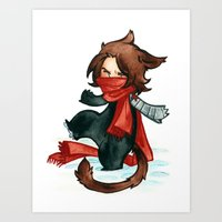 bucky Art Prints featuring winter - bucky by cynamon