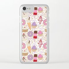 Sweet treats pattern with ice cream and doughnuts, donuts Clear iPhone Case