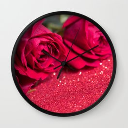Roses over red abstract background with bokeh defocused lights Wall Clock