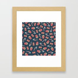 Movie Pattern in Dark Blue Framed Art Print