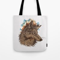 coyote Tote Bags featuring coyote by youareconstance