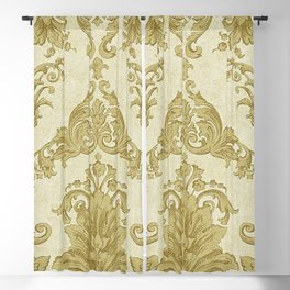 Gold Cream Paisley Floral Pattern Blackout Curtain