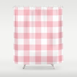 Coral Gingham Pattern Shower Curtain
