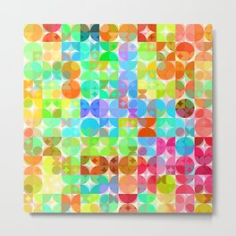 Bright Colors Retro Squares Circles Mosaic Pattern Metal Print