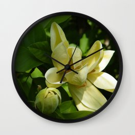 Yellow Magnolia by Teresa Thompson Wall Clock