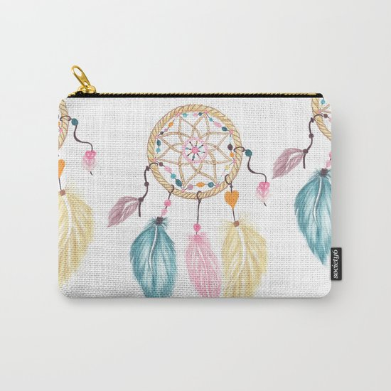 Bright watercolor boho dreamcatcher feathers Carry-All Pouch