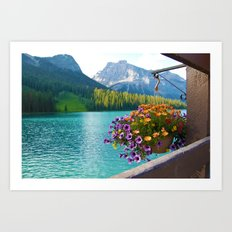 Floral basket, mountain and blue lake Art Print