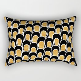 Modern Abstract Loops in Black and Gold Rectangular Pillow
