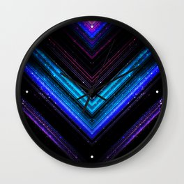 Sparkly metallic blue and purple galaxy lines Wall Clock