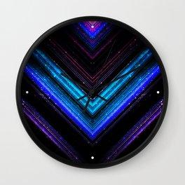 Sparkly metallic blue and purple galaxy chevron lines Wall Clock