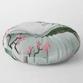 Japanese Bonsai with Cherry Blossom Graphic Woodblock Art Floor Pillow