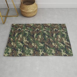 Woodland Forest Camouflage Pattern Rug
