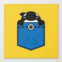 pocket Canvas Prints featuring Pocket Whale by Steven Toang