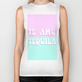 TE AMO TEQUILA pink and blue - Love Tequila Retro Sign Biker Tank