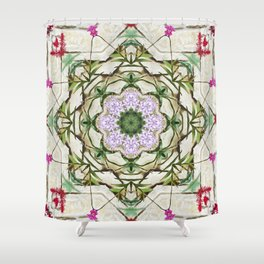 Orchids And Stone Wall Kaleidoscope 1764 Shower Curtain