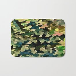 Foliage Abstract In Green, Peach and Phthalo Blue Bath Mat