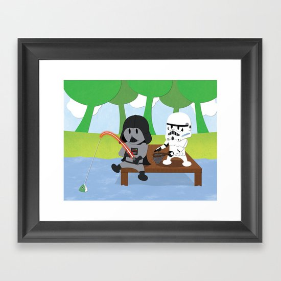 SW Kids - Darth Fishing Framed Art Print