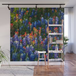 Wonderful Wildflowers - Bluebonnets and Indian Paintbrush on Spring Day in Texas Wall Mural