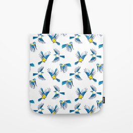 Flying Blue Tit / Bird Pattern Tote Bag