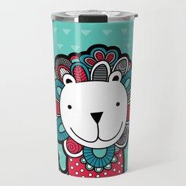 Doodle Lion on Aqua Triangle Background Travel Mug