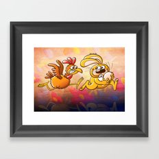 Easter Bunny Stealing an Egg from a Furious Hen Framed Art Print