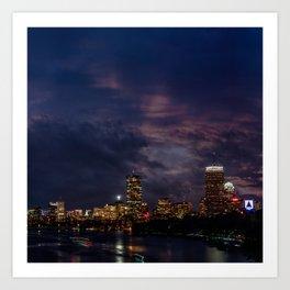 Boston at night Art Print