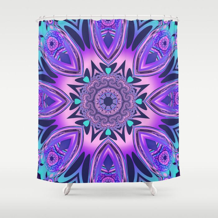 The Floral Kaleidoscope In Pink Purple Blue And Turquoise Shower Curtain