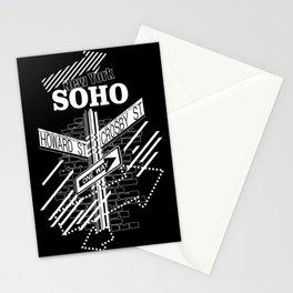 SoHo, New York Streets- white on black Stationery Cards