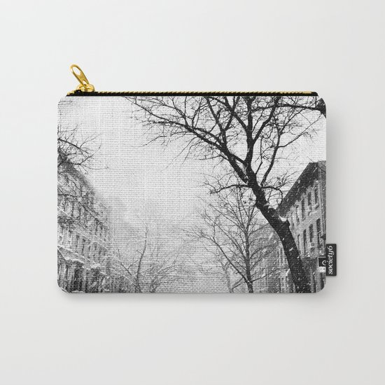 New York City At Snow Time Black and White Carry-All Pouch