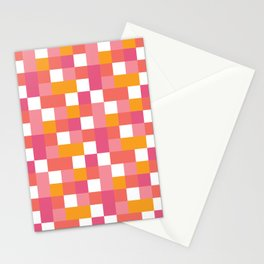 Geometric Tile Pattern in Coral, Pink and Yellow Stationery Cards