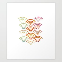 Baesic Watercolor Wifi Swash Art Print