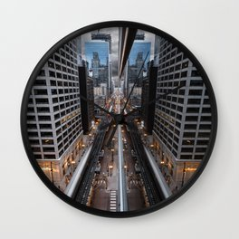 Chicago Reflection from a Rooftop Wall Clock