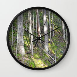 A MOSSY STEEP DEEP FOREST SLOPE Wall Clock
