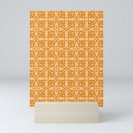 Ethnic tile pattern orange Mini Art Print