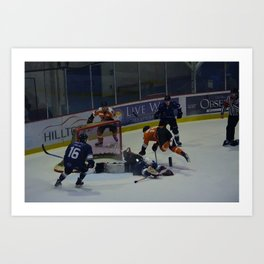 Dive for the Goal - Ice Hockey Art Print