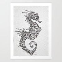 seahorse Art Prints featuring seahorse by Caitlin Hackett