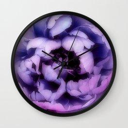 Indulgent Darkness, Violet Peony Wall Clock